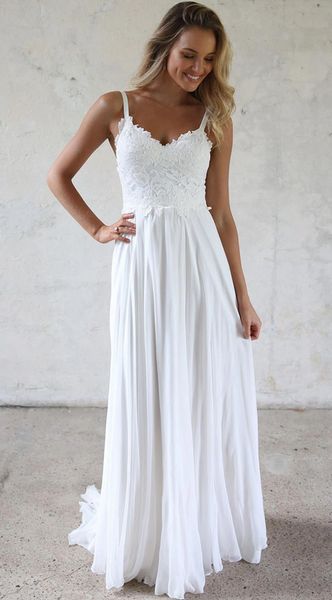 A-line Chiffon Beach Wedding Dress with Applique Fashion Custom Made Bridal Dress YDW0096