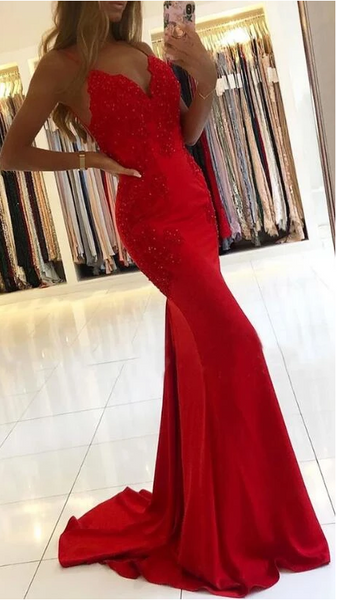 2020 Mermaid Prom Dresses with Applique and Beading Long Prom Dresses 8th Graduation Dress School Dance Wedding Formal Dress YDP1058