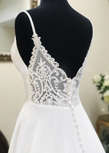 Load image into Gallery viewer, Deep V-neck A-line Beach Wedding Dress Fashion Custom Made Bridal Dress YDW0097