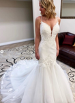 Mermaid Wedding Dress with Applique Fashion Custom Made Bridal Dress YDW0098