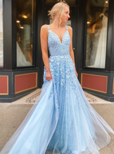 Load image into Gallery viewer, Long Prom Dresses with Appliques and Beading, Grad Dresses Long, 8th Graduation Dress ,School Dance Dress YDP1074