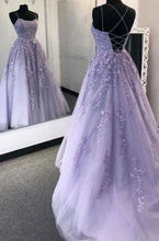 Load image into Gallery viewer, 2021 Long Prom Dresses with Applique and Beading , Grad Dresses Long, 8th Graduation Dress ,School Dance Dress YPS1001