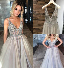 Load image into Gallery viewer, 2021 Long Prom Dresses with Beading,8th Graduation Dress ,School Dance Dress YPS1020