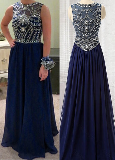 A-line Long Prom Dress With Beading Custom-made School Dance Dress Fashion Wedding Party Dress YDP0614