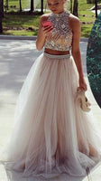 Two Pieces Beaded Long Prom Dresses Custom-made School Dance Dress Fashion Graduation Party Dress YDP0566