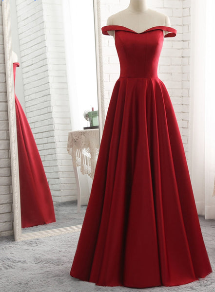 Off the Shoulder A-line Long Prom Dress School Dance Dress Fashion Winter Formal Dress YDP0256