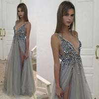 Sexy Beaded Long Prom Dress Custom-made School Dance Dress Fashion Graduation Party Dress YDP0411