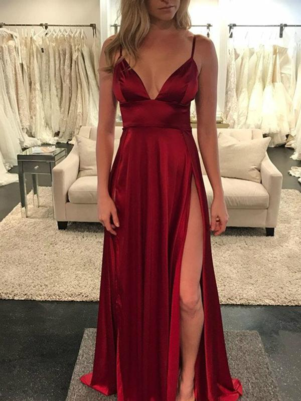Sexy Burgundy Long Prom Dress With Slit School Dance Dress Fashion Winter Formal Dress YDP0235