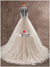 Load image into Gallery viewer, V Neck Lace and Tulle Wedding Dress with Beads and Crystal Sash Real Photo Wedding Dress Fashion Custom Made Bridal Dress YDW0017