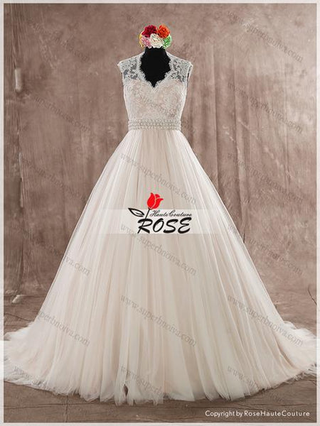 V Neck Lace and Tulle Wedding Dress with Beads and Crystal Sash Real Photo Wedding Dress Fashion Custom Made Bridal Dress YDW0017