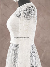 Load image into Gallery viewer, Short See Through Lace Real Photo Wedding Dress Reception Bridal Dresses  YDW0029
