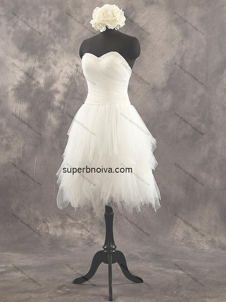 Strapless Short Tulle Real Photo Wedding Dress Reception Bridal Dresses YDW0032