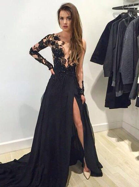 c3f36c9b85 ... Black Long Prom Dress With Long Sleeves Sweet 16 Dance Dress Fashion  Winter Formal Dress YDP0221 ...
