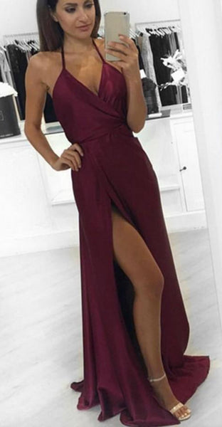 Backless Sexy Long Prom Dresses With Slit Custom-made School Dance Dress Fashion Graduation Party Dress YDP0516