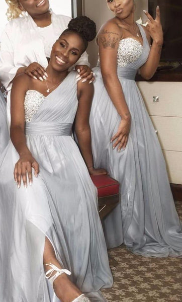 One Shoulder Long Bridesmaid Dress,Custom Made Wedding Party Dress YDB0029