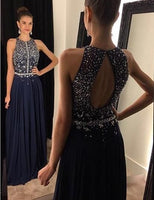 Open Back A-line Long Prom Dress with Beading Custom Made Formal Dress Fashion Winter Dance Dress YDP0117