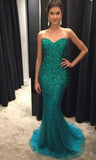 Sweetheart Mermaid Long Prom Dress With Fulle Beading Custom-made School Dance Dress Fashion Wedding Party Dress YDP0626
