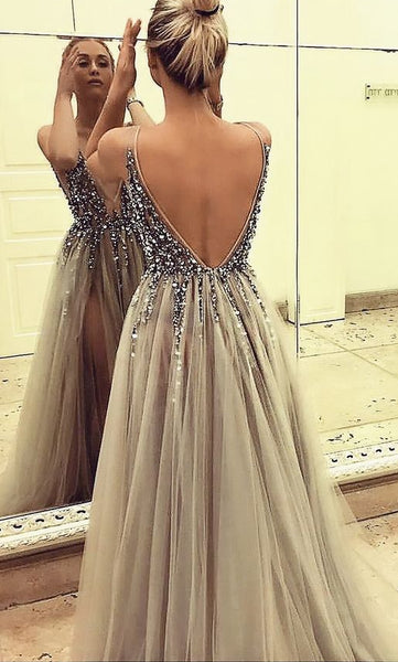 Deep V-neck Sexy Long Prom Dresses With Beading Custom-made School Dance Dress Fashion Graduation Party Dress YDP0577