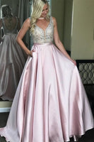 Backless Satin Long Prom Dress With Beading School Dance Dress Fashion Winter Formal Dress YDP0381