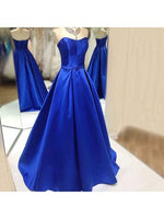 Strapless Royal Blue Long Prom Dress Custom-made School Dance Dress Fashion Graduation Party Dress YDP0416