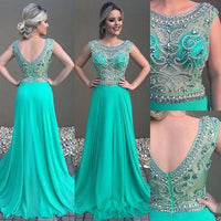 V-back Long Prom Dress With Beading Custom-made School Dance Dress Fashion Graduation Party Dress YDP0630