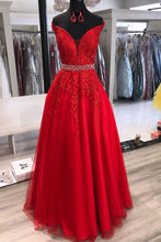Load image into Gallery viewer, Prom Dresses With Applique and Beading Long Prom Dresses 8th Graduation Dress School Dance Winter Formal Dress YDP1035