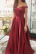 Load image into Gallery viewer, Off the Shoulder A-line Long Prom Dress School Dance Dress Fashion Winter Formal Dress YDP0394