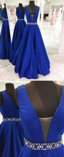 Load image into Gallery viewer, Royal Blue A-line Long Prom Dress with Beading Sweet 16 Dance Dress Fashion Winter Formal Dress YDP0182