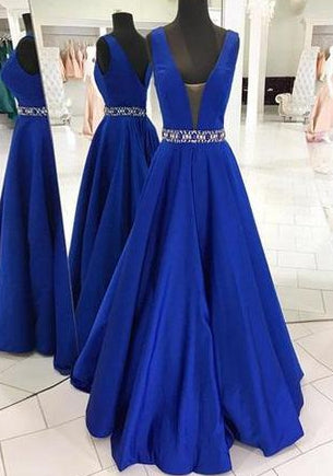 Royal Blue A-line Long Prom Dress with Beading Sweet 16 Dance Dress Fashion Winter Formal Dress YDP0182