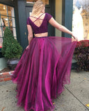 Two Pieces Beaded Long Prom Dresses Custom-made School Dance Dress Fashion Graduation Party Dress YDP0546