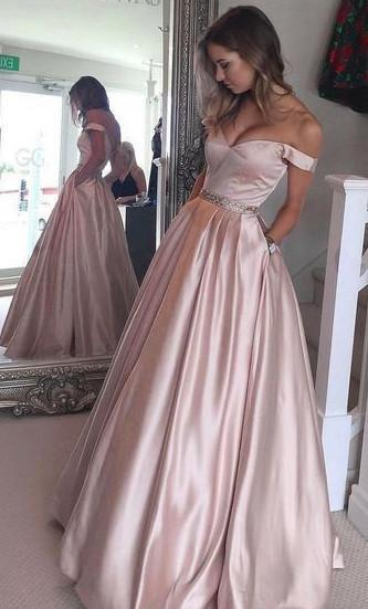 Fashion Off the Shoulder Satin Long Prom Dress Custom Made Real Photo Wedding Party Dress YDP0012