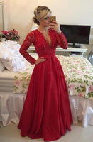 Red A-line Long Prom Dress with Applique and Pearls Custom Made Long Sleeves Party Dress Fashion Winter Dance Dress YDP0084