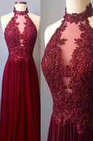 Halter Neck Burgundy Long Prom Dress with Applique and Beading Fashion Wedding Party Dress YDP0029