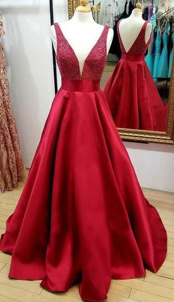 V-neck Beaded Long Prom Dresses Custom-made School Dance Dress Fashion Graduation Party Dress YDP0541