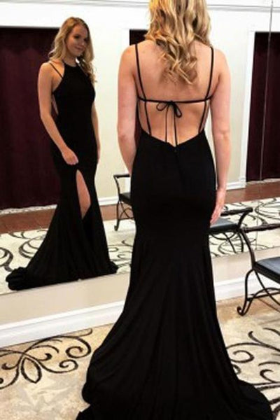Black Sexy Long Prom Dress with Slit School Dance Dress Fashion Winter Formal Dress YDP0334
