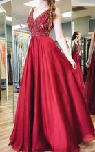 Load image into Gallery viewer, V-neck A-line Beaded Long Prom Dress School Dance Dress Fashion Winter Formal Dress YDP0357