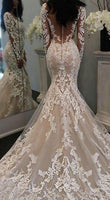 Mermaid Wedding Dress With Long Sleeves,Fashion Custom Made Bridal Dress YDW0053