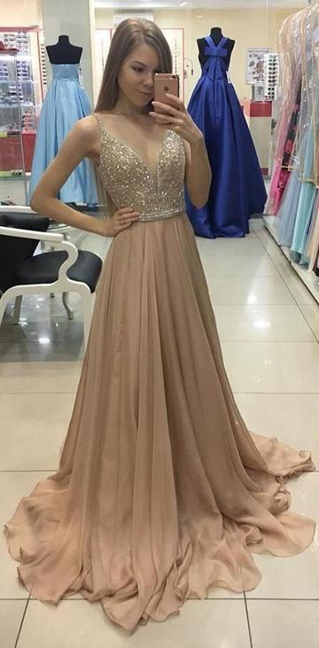 V-neck A-line Long Prom Dress with Beading Fashion Formal Dress YDP0040