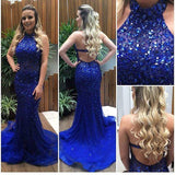 Backless Mermaid Full Beaded Long Prom Dress Fashion Wedding Party Dress YDP0030