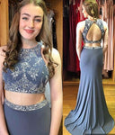 Two Pieces Prom Dress With Beading Long Mermaid Dress For Graduation Custom-made School Dance Dress  YDP0641