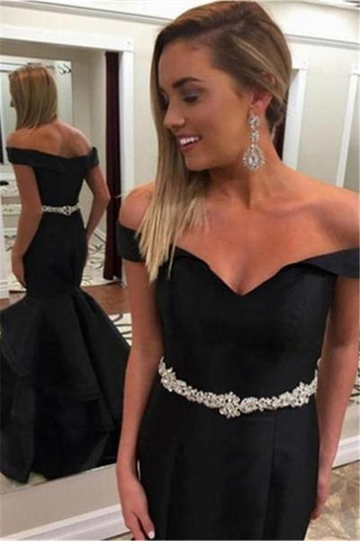 Off the Shoulder Mermaid Long Prom Dress School Dance Dress Fashion Winter Formal Dress YDP0365