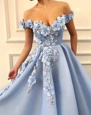 2021 Off Shoulder Ball Gown Long Prom Dresses  ,Formal Dresses YPS1054