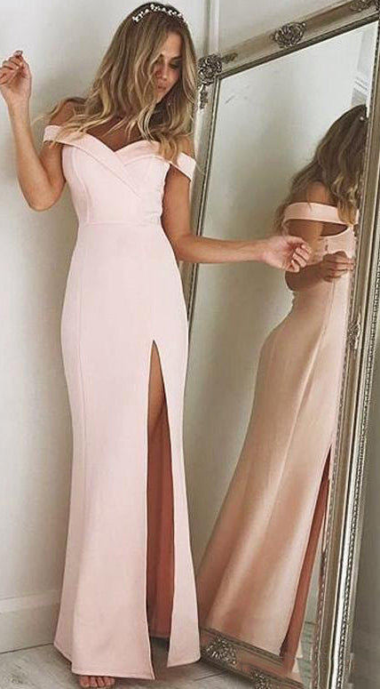 Off Shoulder Prom Dress With Slit Long 8th Graduation Dress Custom-made School Dance Dress  YDP0670
