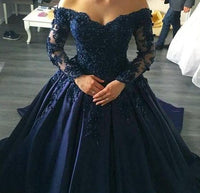 Off the Shoulder Lace/Satin Ball Gown Wedding Dress with Long Sleeves Fashion Custom Made Bridal Dress YDW0027