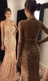 Sexy Halter Neck Long Prom Dress With Fulle Beading Custom-made School Dance Dress Fashion Wedding Party Dress YDP0625