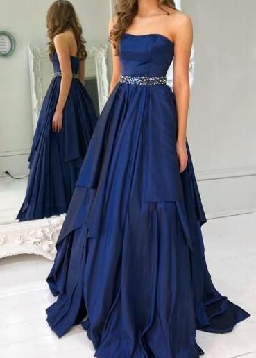 Strapless A-line Long Prom Dress School Dance Dress Fashion Winter Formal Dress YDP0400