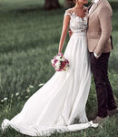 A-line Lace/Chiffon Beach Wedding Dress Fashion Custom Made Bridal Dress YDW0011