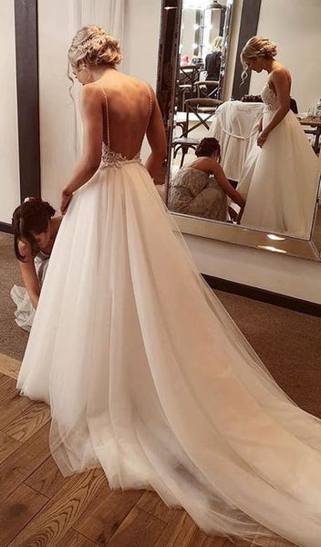 Backless Lace/Tulle Beach Wedding Dress Fashion Custom Made Bridal Dress YDW0043