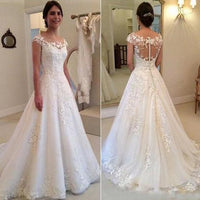 Popular A-line Lace/Tulle Wedding Dress with Cap Sleeves Fashion Custom Made Bridal Dress YDW0002