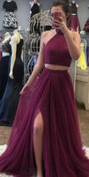 Halter Neck Two Pieces Long Prom Dress with Beading Fashion Formal Dress YDP0039